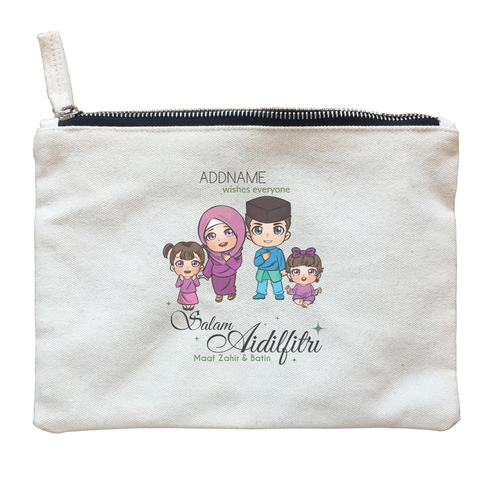 Raya Chibi Family Girl And Baby Girl Addname Wishes Everyone Salam Aidilfitri Maaf Zahir & Batin Zipper Pouch