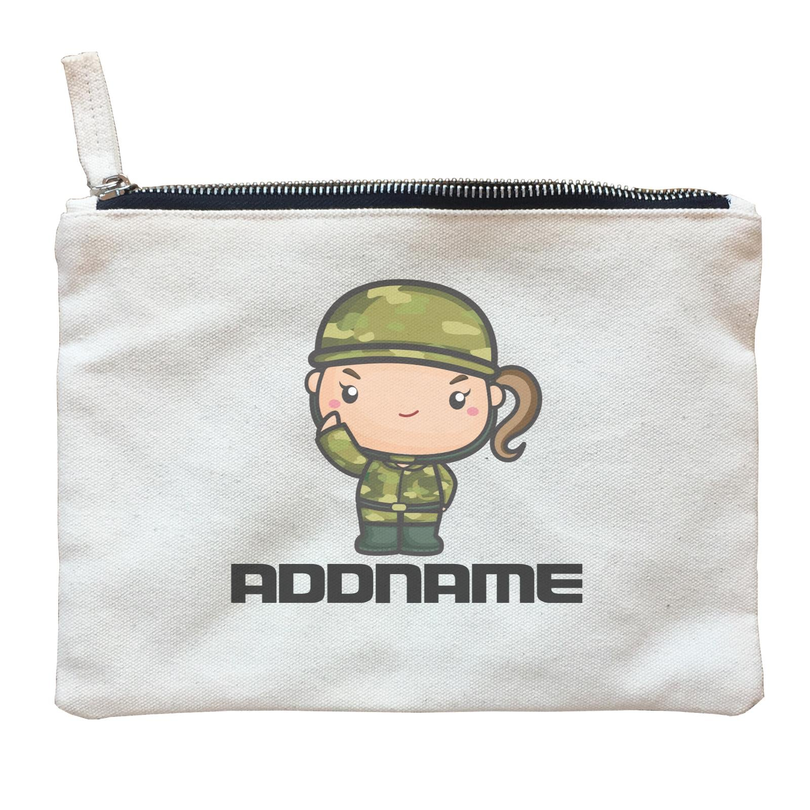 Birthday Battle Theme Army Soldier Girl Addname Zipper Pouch