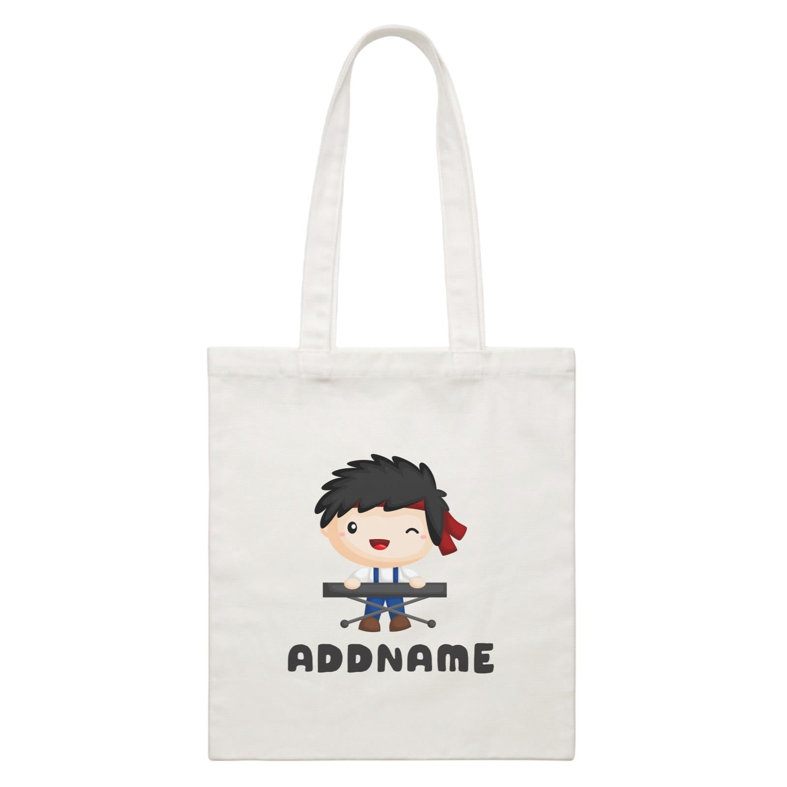 Birthday Music Band Boy Playing Electric Piano Addname White Canvas Bag