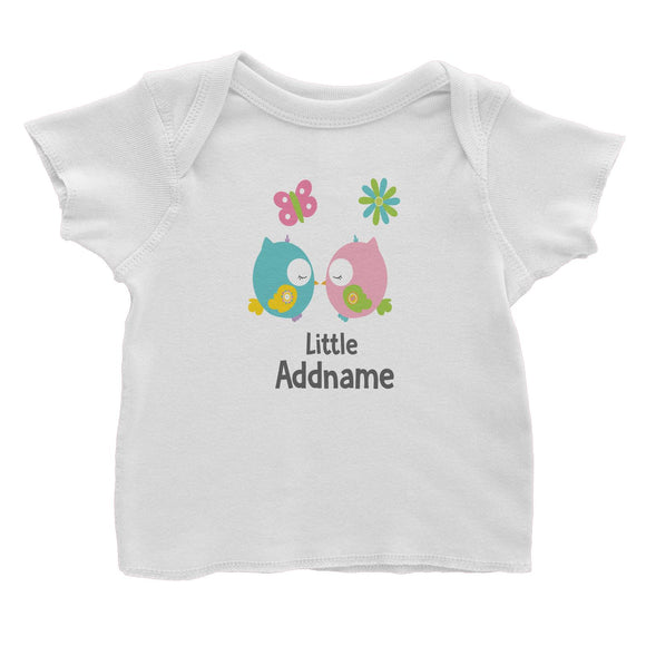 Cute Owls Pair Kissing Little Addname Baby T-Shirt