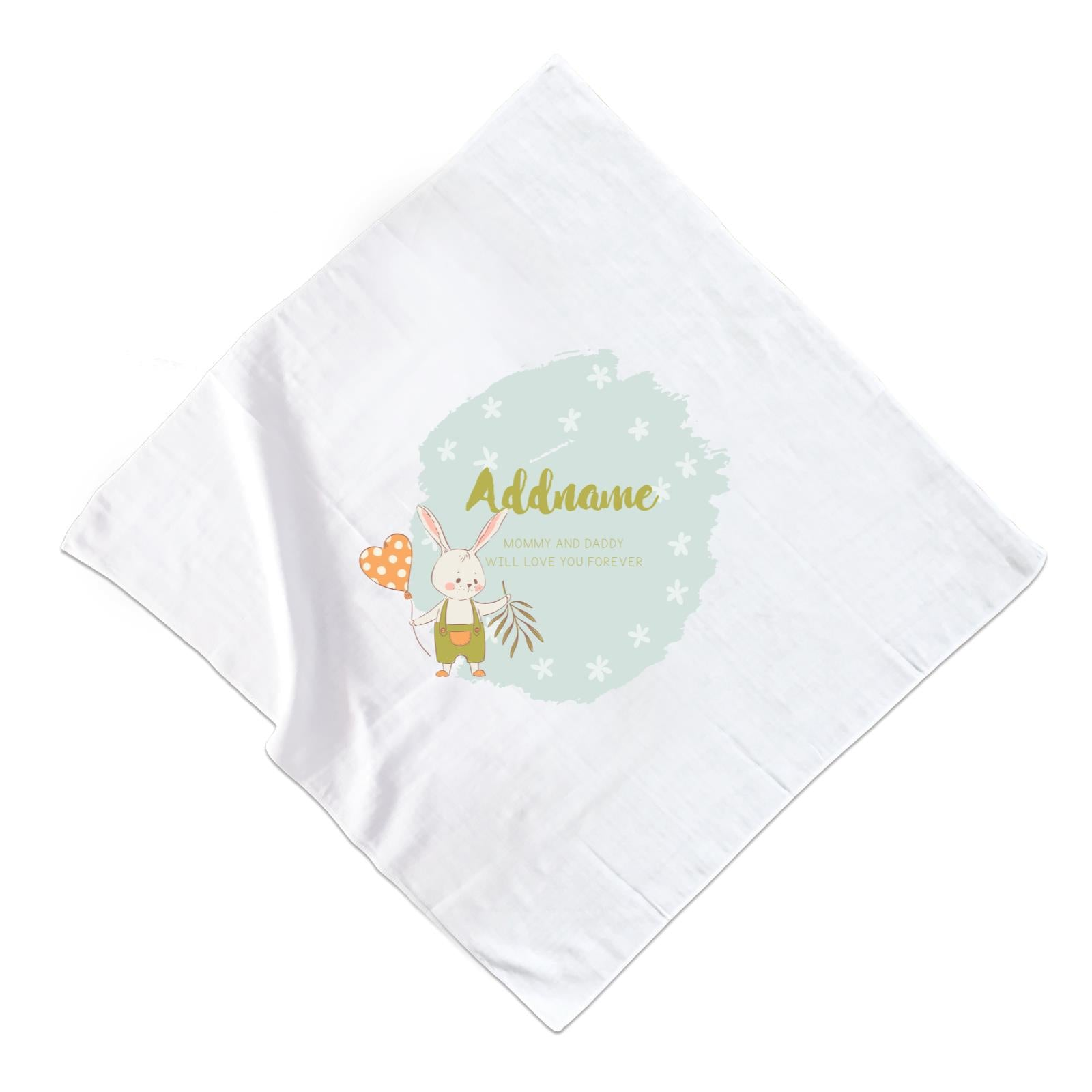 Cute Boy Rabbit with Heart Balloon Personalizable with Name and Text Muslin Square