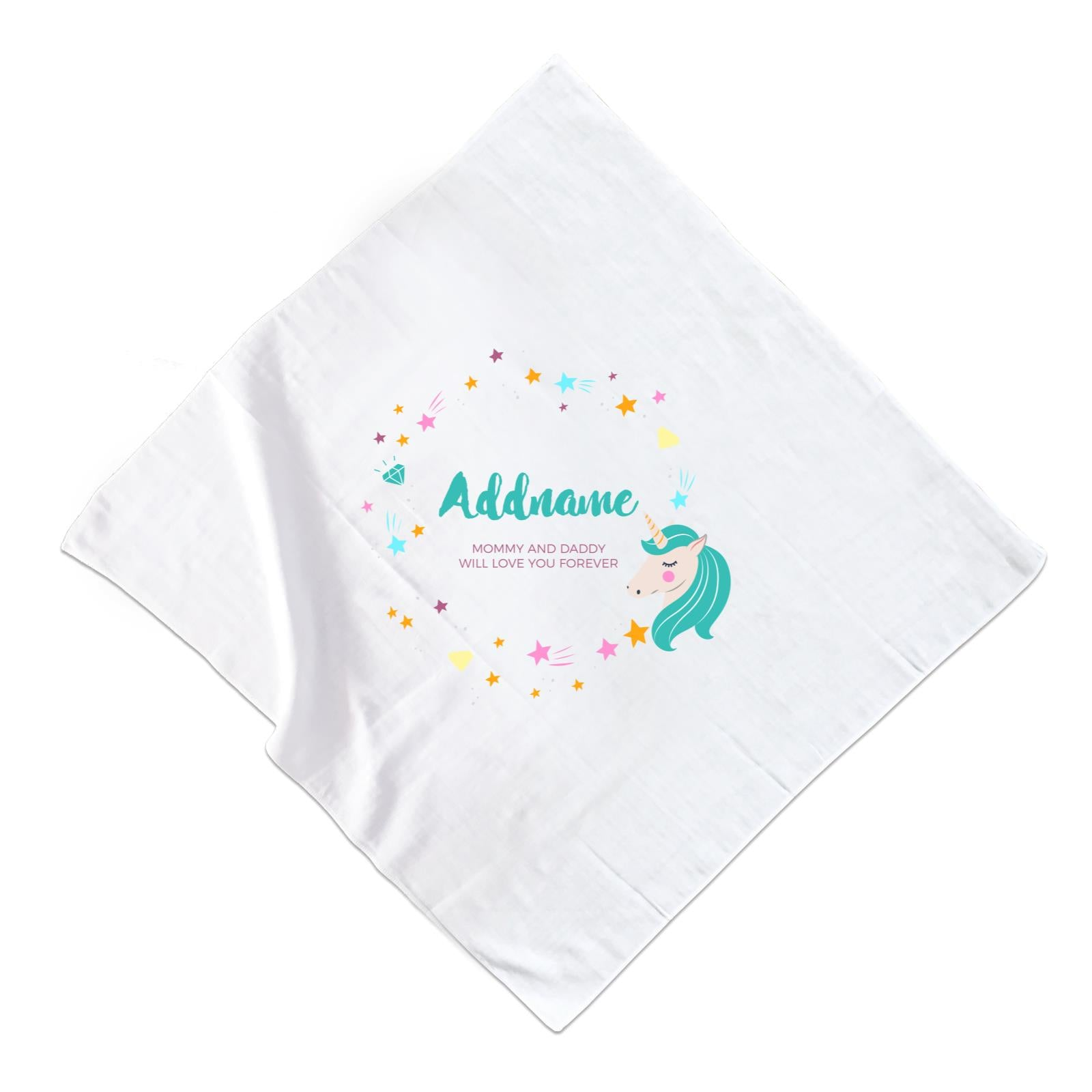Cute Green Unicorn with Star and Diamond Elements Personalizable with Name and Date Muslin Square