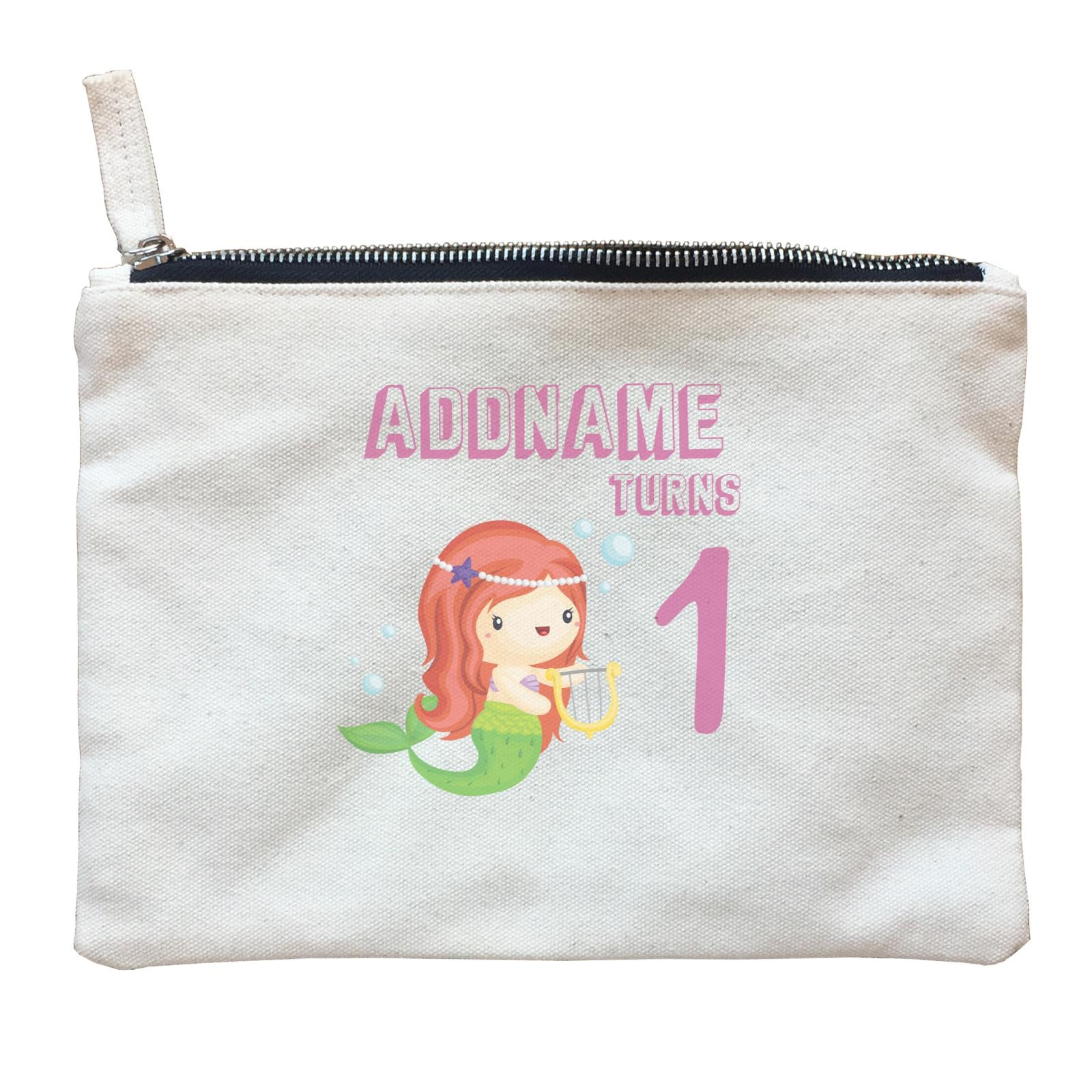 Birthday Mermaid Red Long Hair Mermaid Playing Harp Addname Turns 1 Zipper Pouch