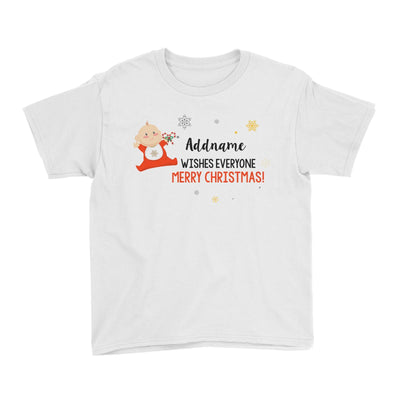 Cute Elf Baby Wishes Everyone Merry Christmas Addname Kid's T-Shirt  Matching Family Personalizable Designs