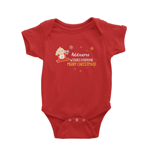 Cute Elf Baby Wishes Everyone Merry Christmas Addname Baby Romper  Matching Family Personalizable Designs