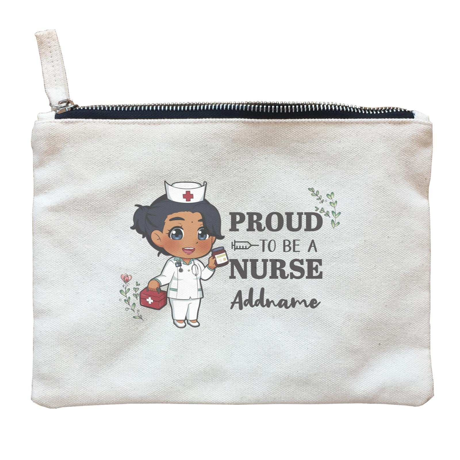 Proud To Be A Nurse Chibi Female Indian Zipper Pouch