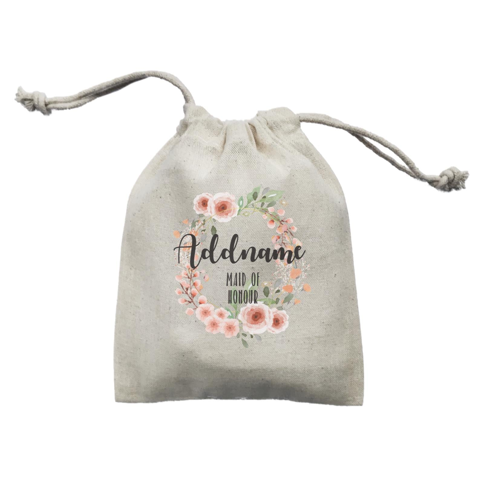 Bridesmaid Floral Sweet 2 Watercolour Flower Wreath Maid Of Honour Addname Mini Accessories Mini Pouch