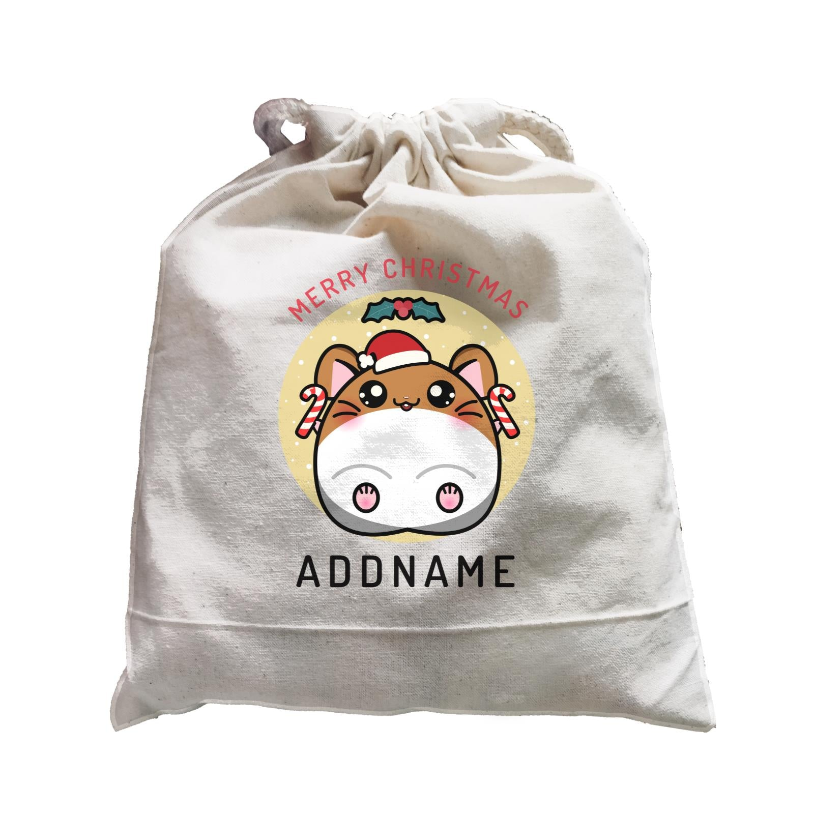 Merry Christmas Cute Santa Boy Hamster with Candy Cane Satchel