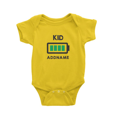 Battery Fully Charged Kid Addname Baby Romper  Matching Family Personalizable Designs