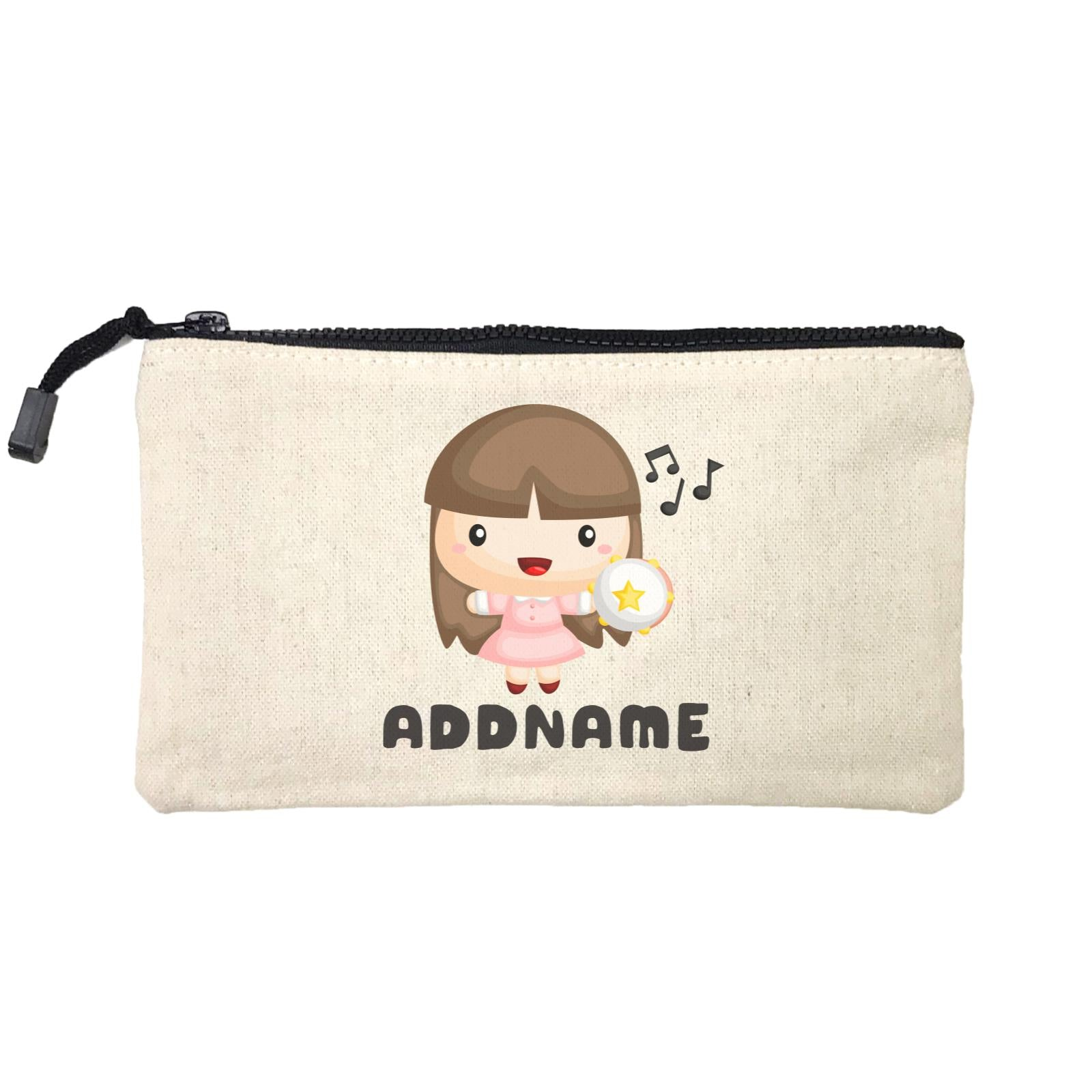 Birthday Music Band Girl Playing Tambourine Addname Mini Accessories Stationery Pouch