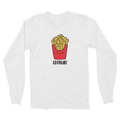 Fast Food Fries Addname Long Sleeve Unisex T-Shirt  Matching Family Comic Cartoon Personalizable Designs