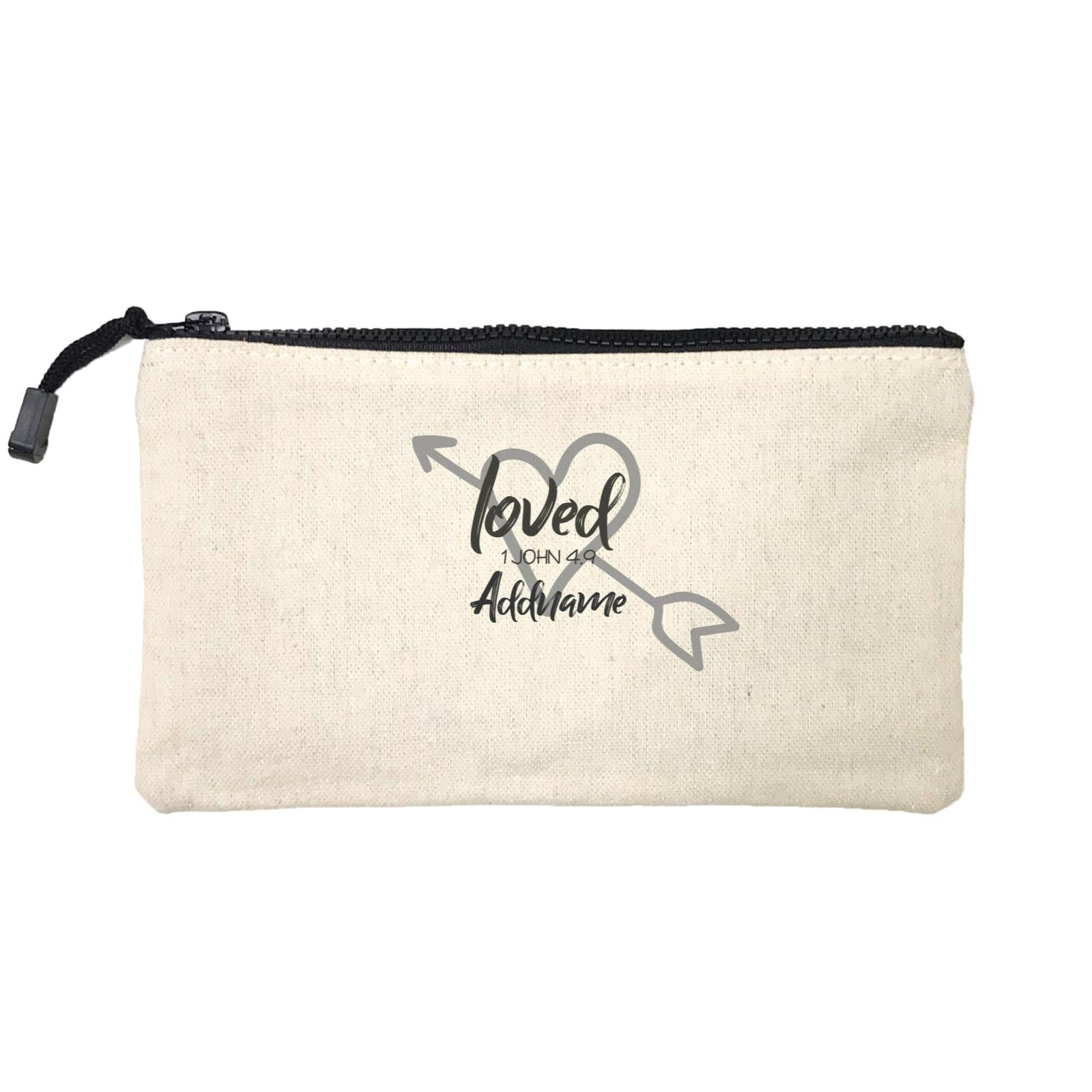 Loved Family Loved With Heart And Arrow 1 John 4.9 Addname Mini Accessories Stationery Pouch