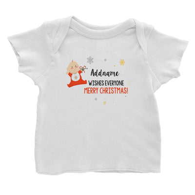 Cute Elf Baby Wishes Everyone Merry Christmas Addname Baby T-Shirt  Matching Family Personalizable Designs