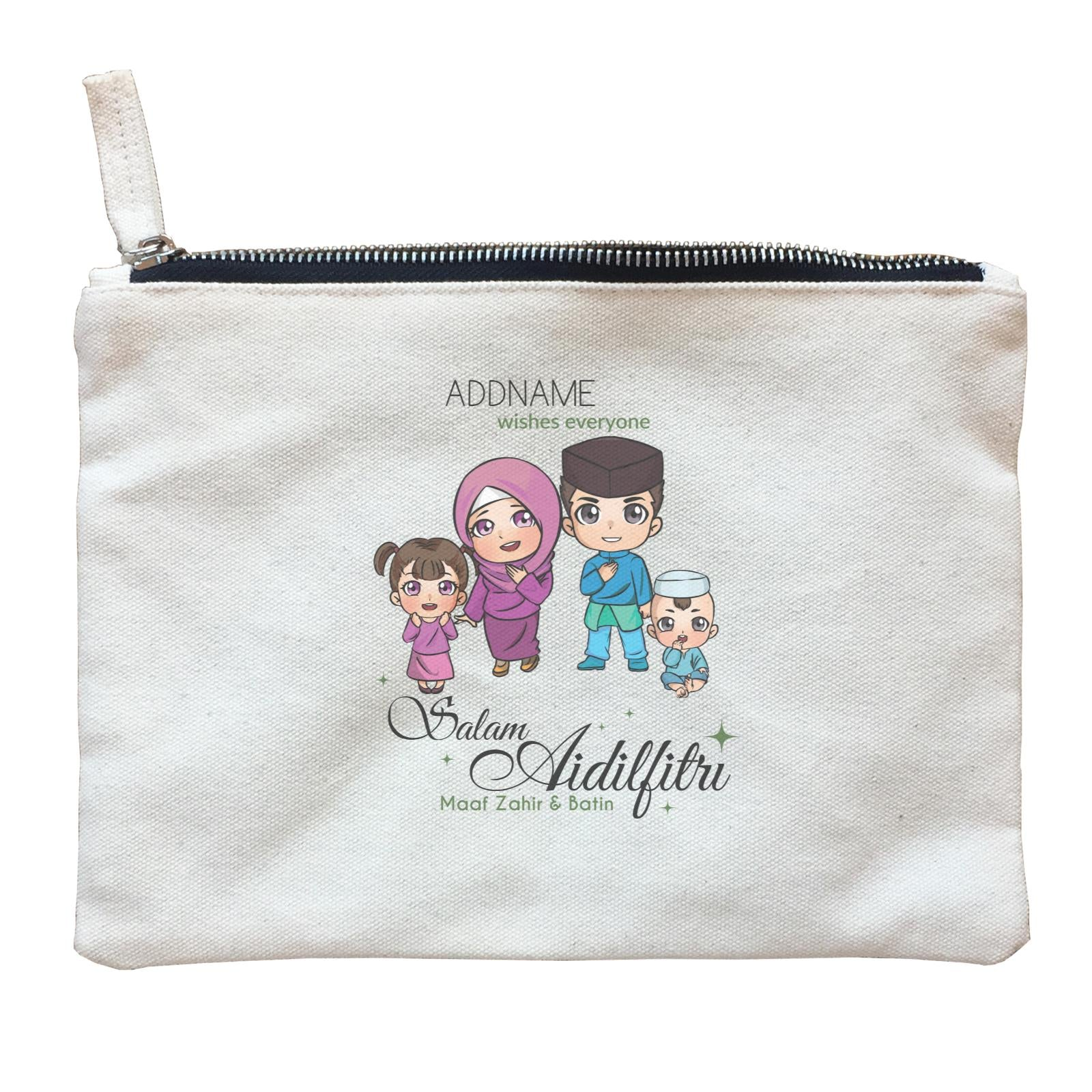 Raya Chibi Family Girl And Baby Boy Addname Wishes Everyone Salam Aidilfitri Maaf Zahir & Batin Zipper Pouch