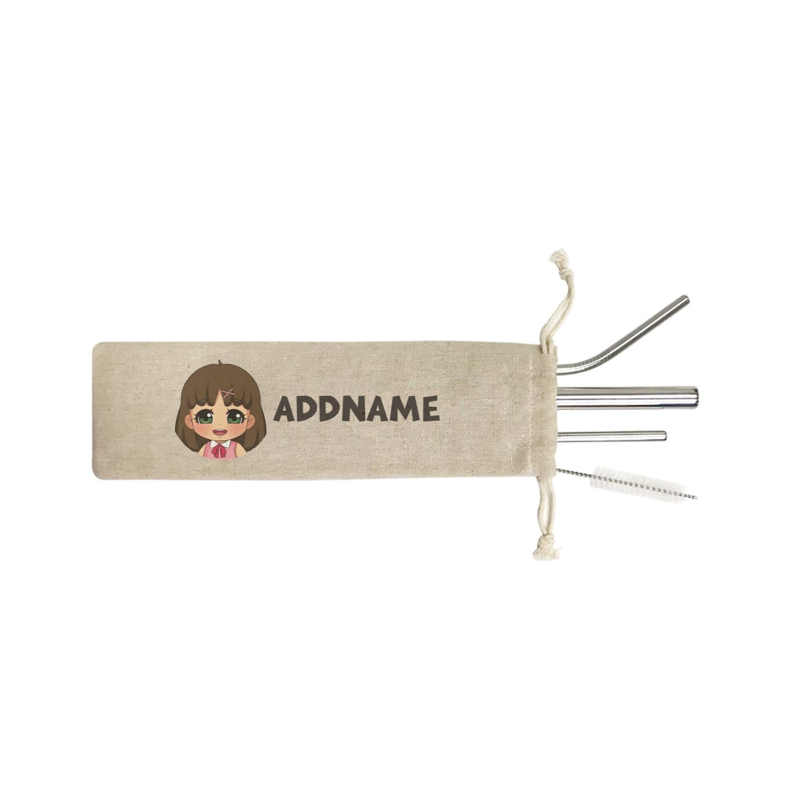 Children's Day Gift Series Little Chinese Girl Addname SB 4-in-1 Stainless Steel Straw Set In a Satchel