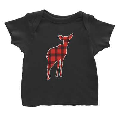 Baby Deer Silhouette Checkered Pattern Baby T-Shirt Christmas Matching Family Animal
