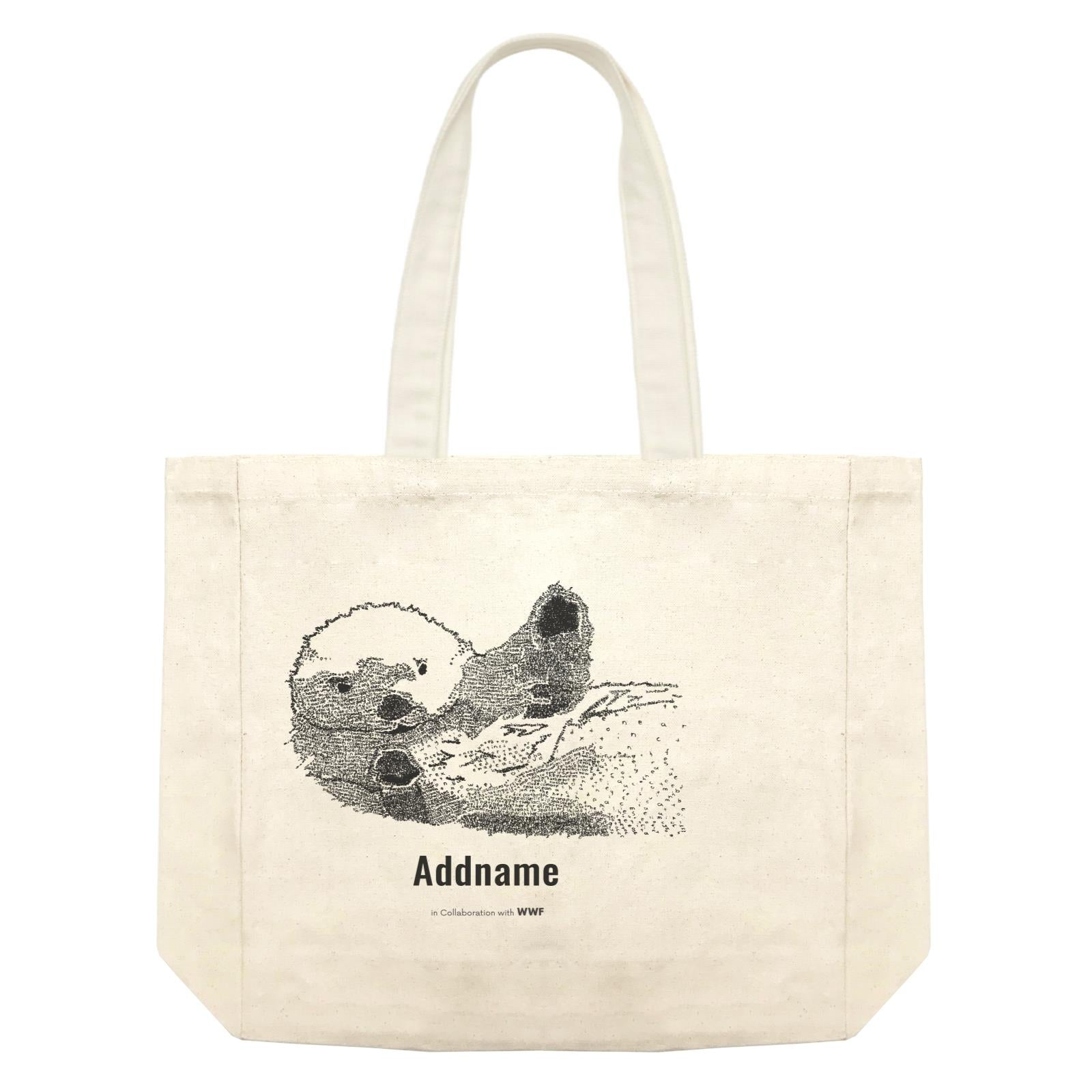 Hand Written Animals Sea Otter By ArtC Addname Shopping Bag