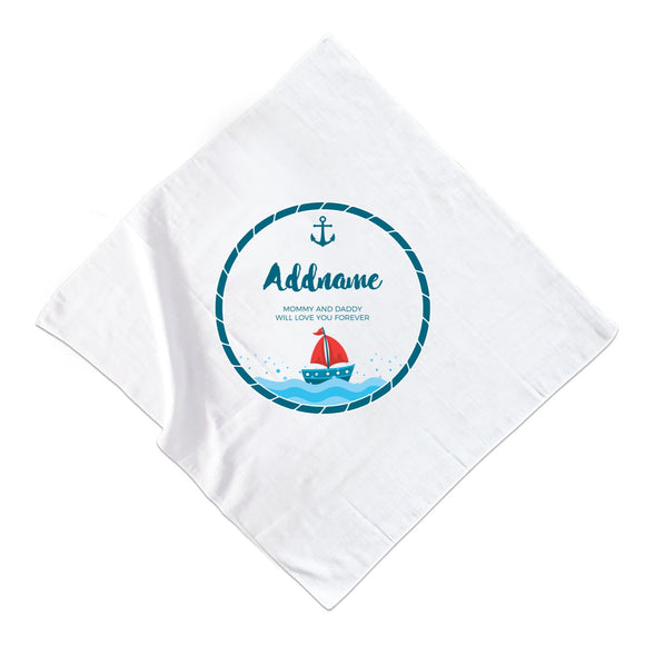 Sailor Emblem with Boat Personalizable with Name and Text Muslin Square