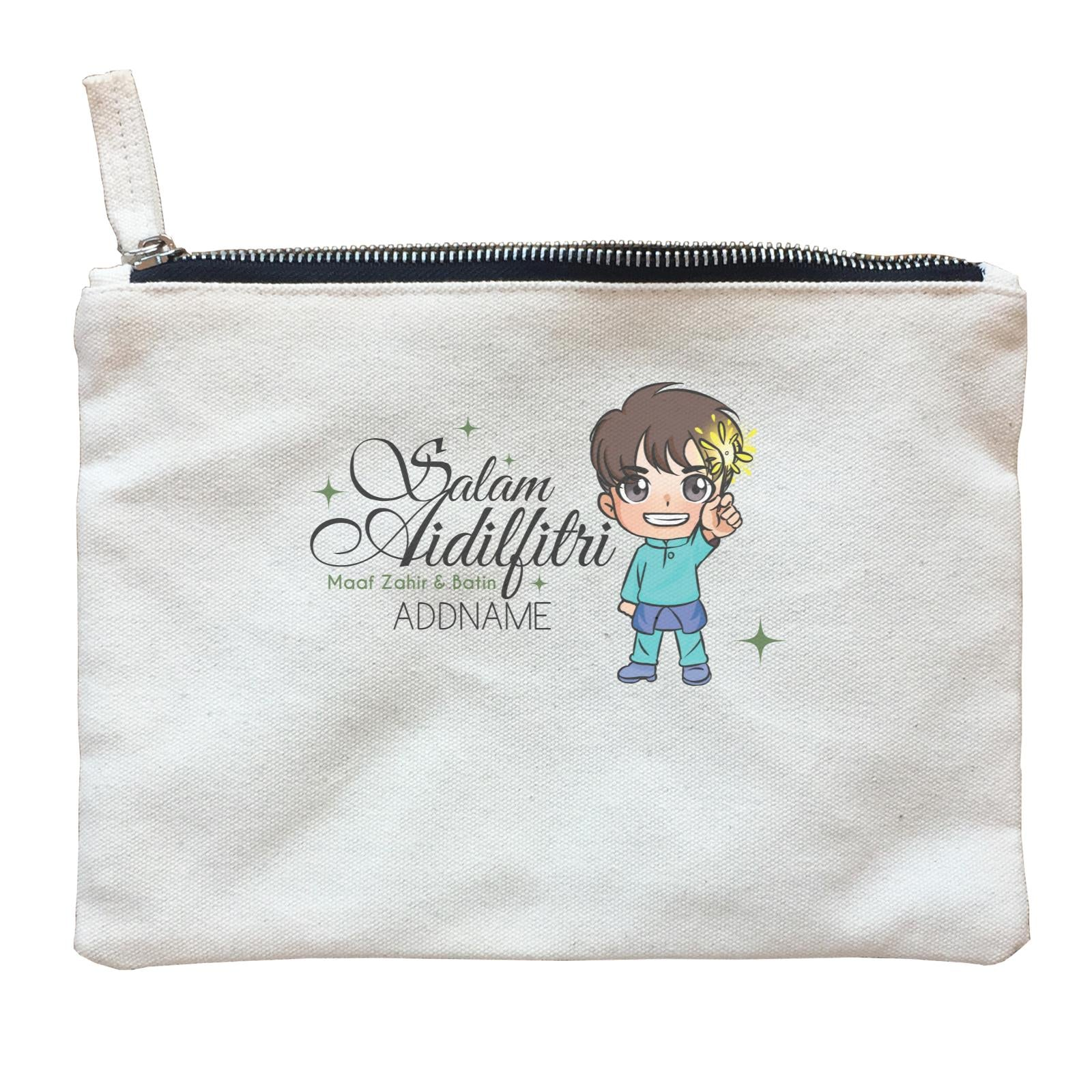Raya Chibi Wishes Little Boy Addname Wishes Everyone Salam Aidilfitri Maaf Zahir & Batin Zipper Pouch