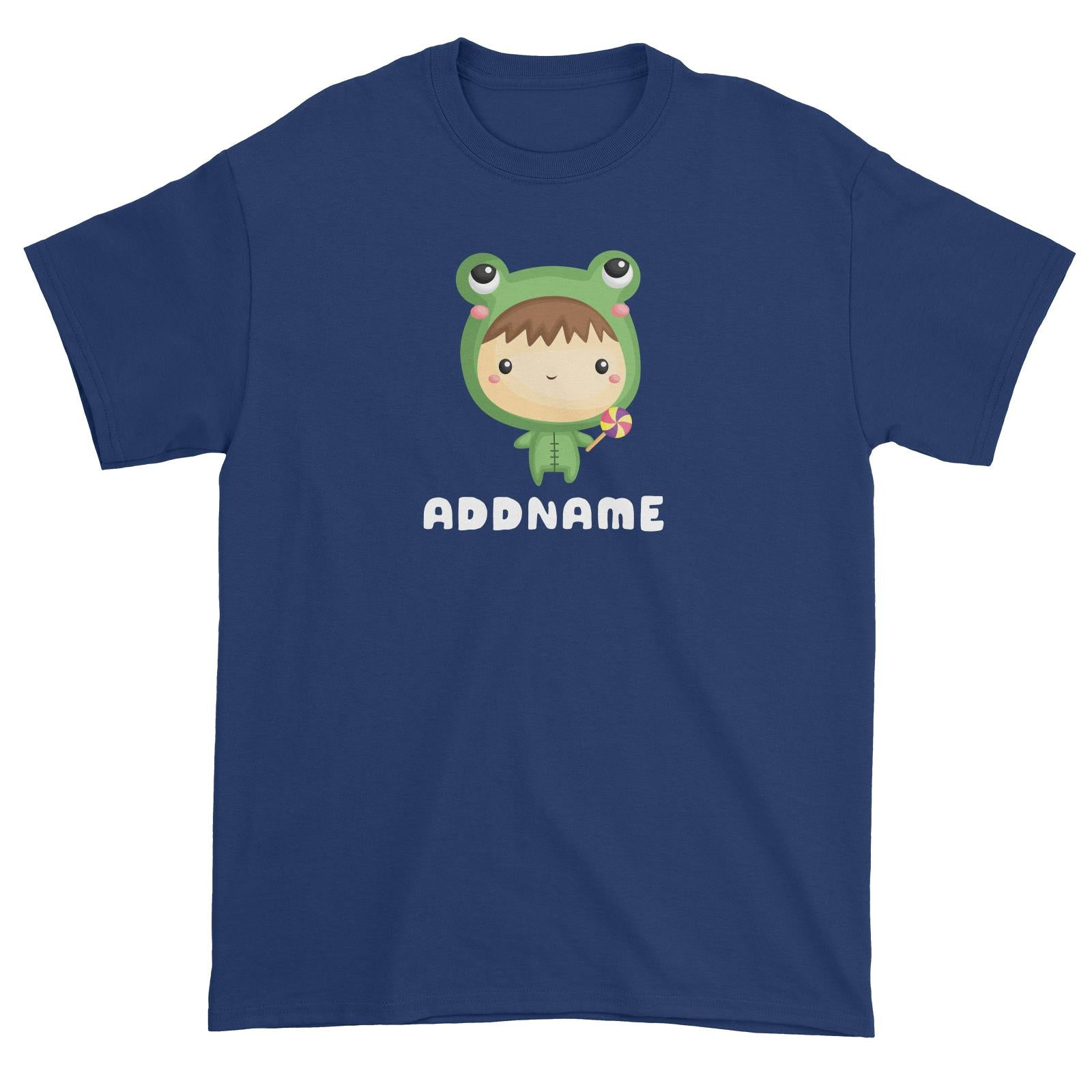 Birthday Frog Baby Boy Wearing Frog Suit Holding Lolipop Addname Unisex T-Shirt