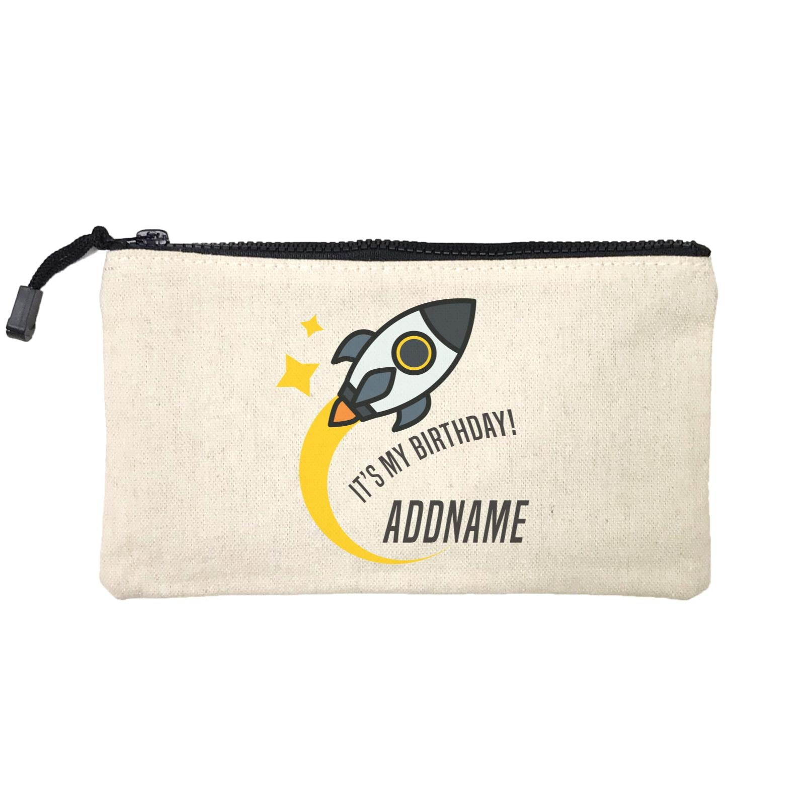 Birthday Flying Rocket To Galaxy It's My Birthday Addname Mini Accessories Stationery Pouch
