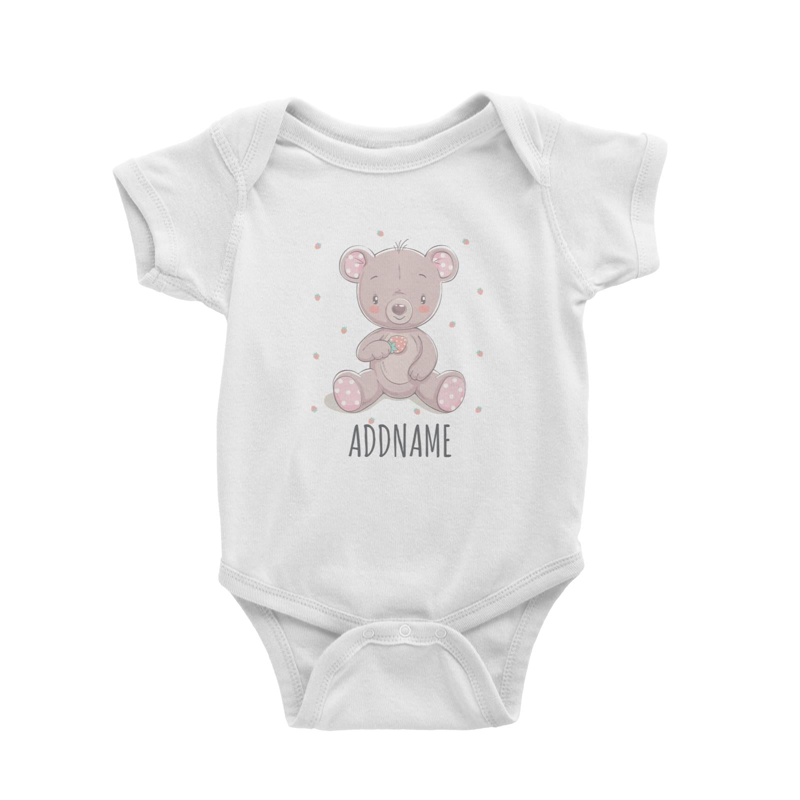 Girl Bear with Strawberry White Baby Romper Personalizable Designs Cute Sweet Animal For Girls Pinky HG