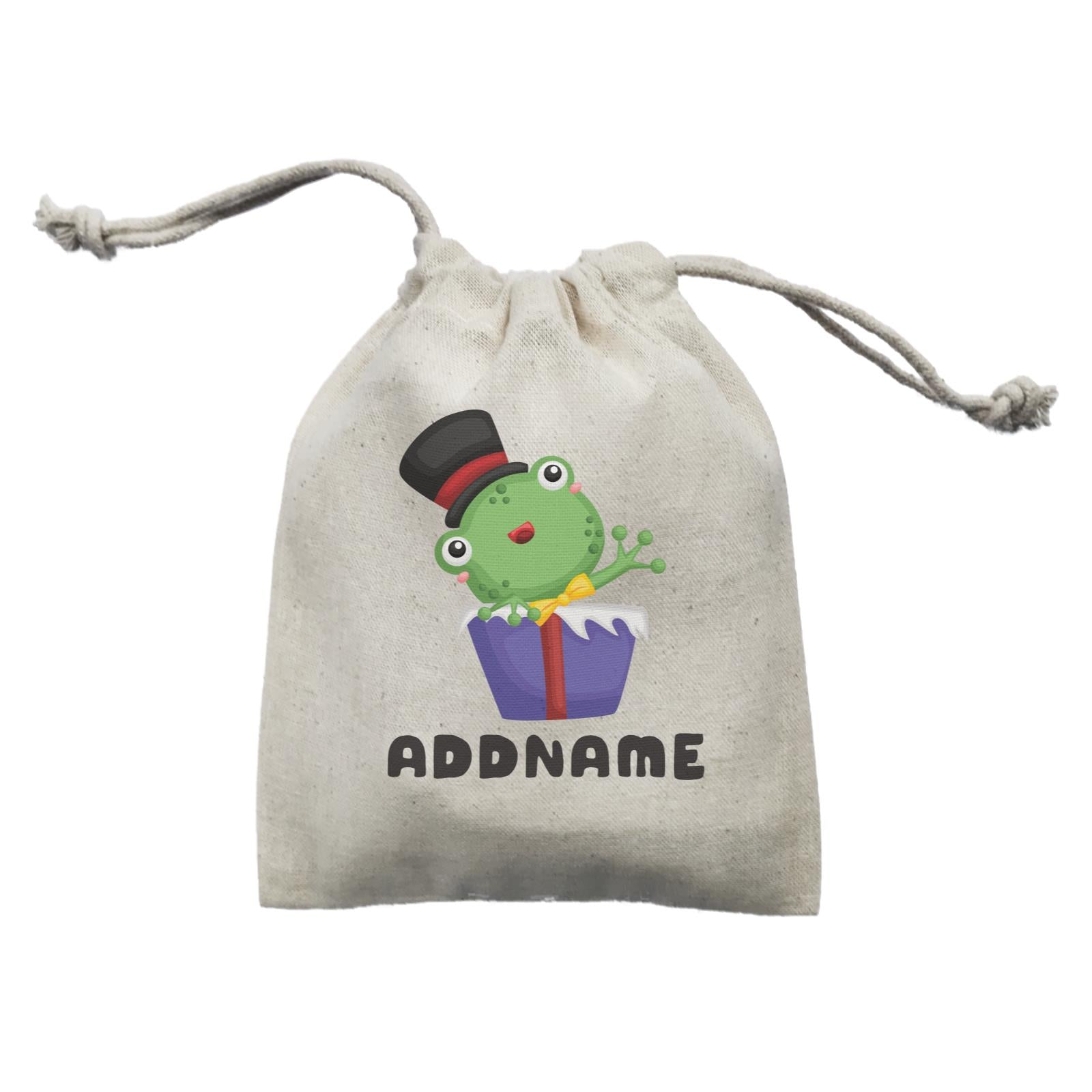 Birthday Frog Frog Wearing Hat Inside Present Box Addname Mini Accessories Mini Pouch