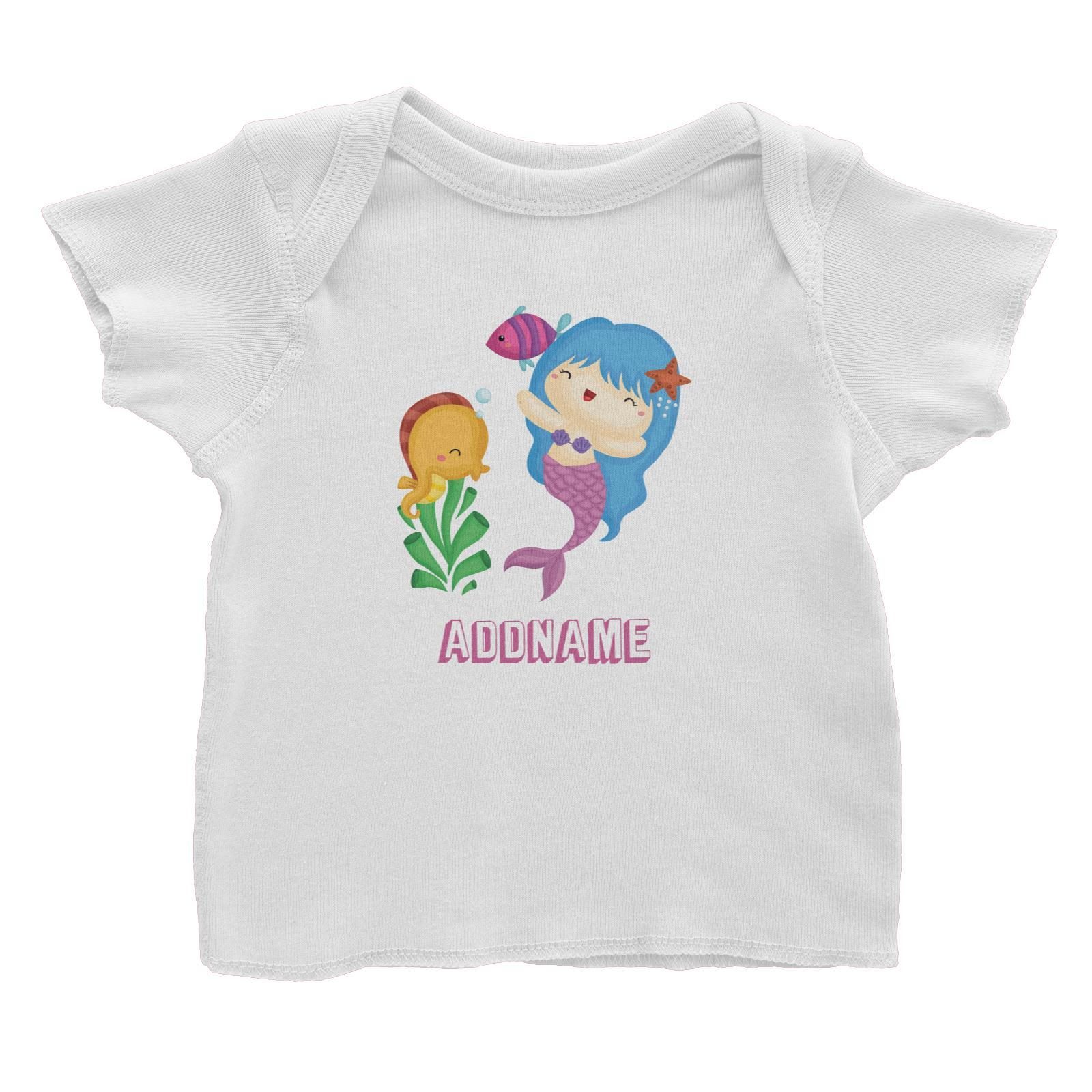 MERMAID /& SEAHORSE PERSONALISED COLOUR IN YOUR OWN T-SHIRT *FUN NAMED GIFT*