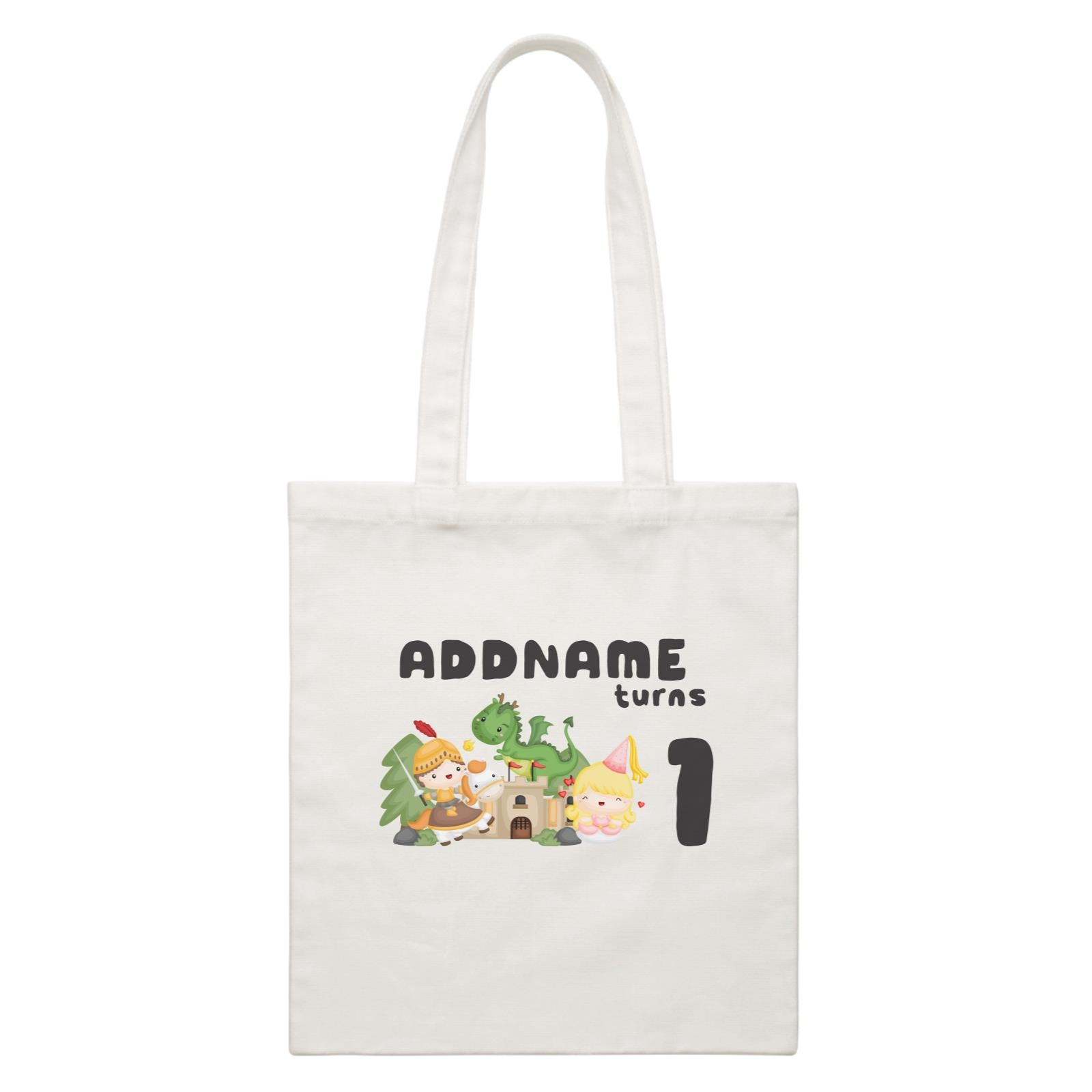 Birthday Royal Group Addname Turns 1 White Canvas Bag