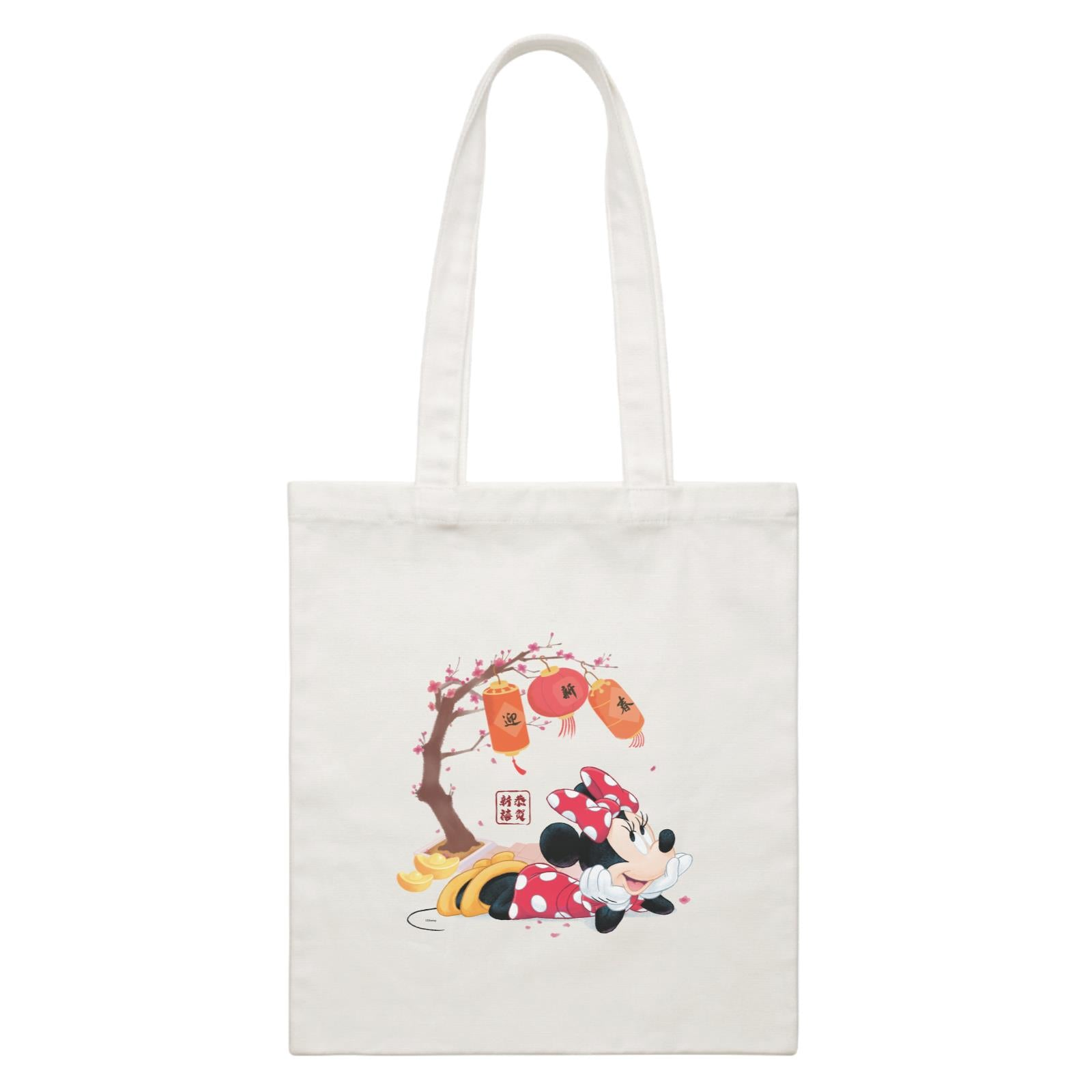 Disney CNY Minnie With Prosperity Elements Non Personalised CBR White Canvas Bag