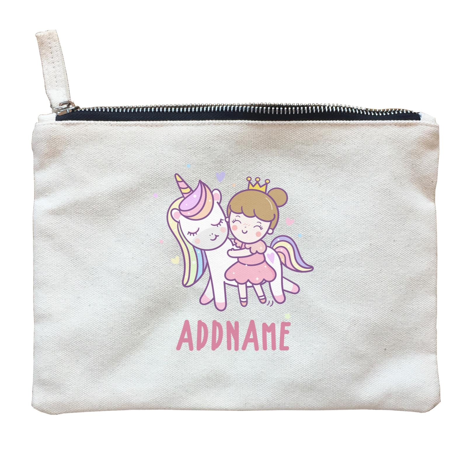 Unicorn And Princess Series Cute Unicorn With Princess Addname Zipper Pouch