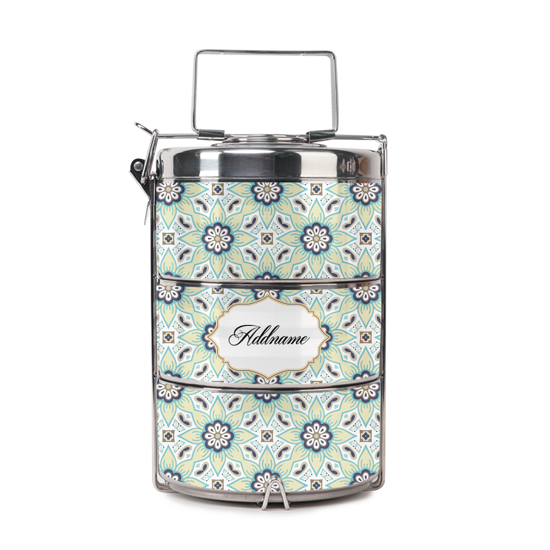 [RAYA 2021] Chromatic Floral Teal Tiffin Carrier