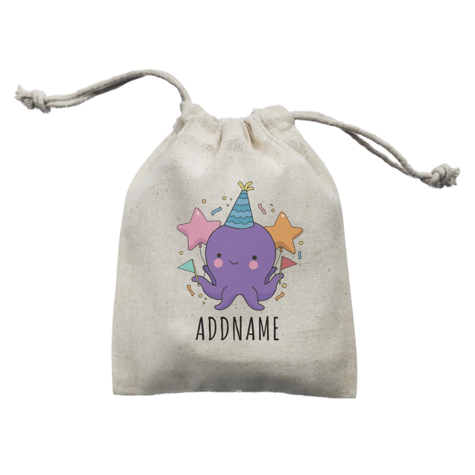 Birthday Sketch Animals Octopus with Flags Addname Mini Accessories Mini Pouch