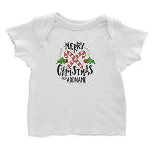 Merry Chrismas with Holly and Candy Cane Greeting Addname Baby T-Shirt Christmas Matching Family Personalizable Designs Lettering