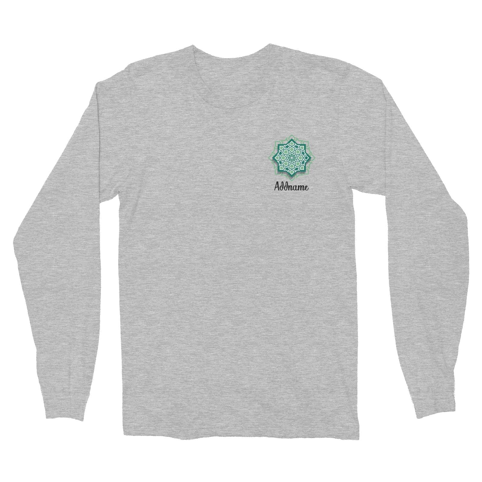 Raya Symbol Green Islamic Geometric Pocket Addname Long Sleeve Unisex T-Shirt