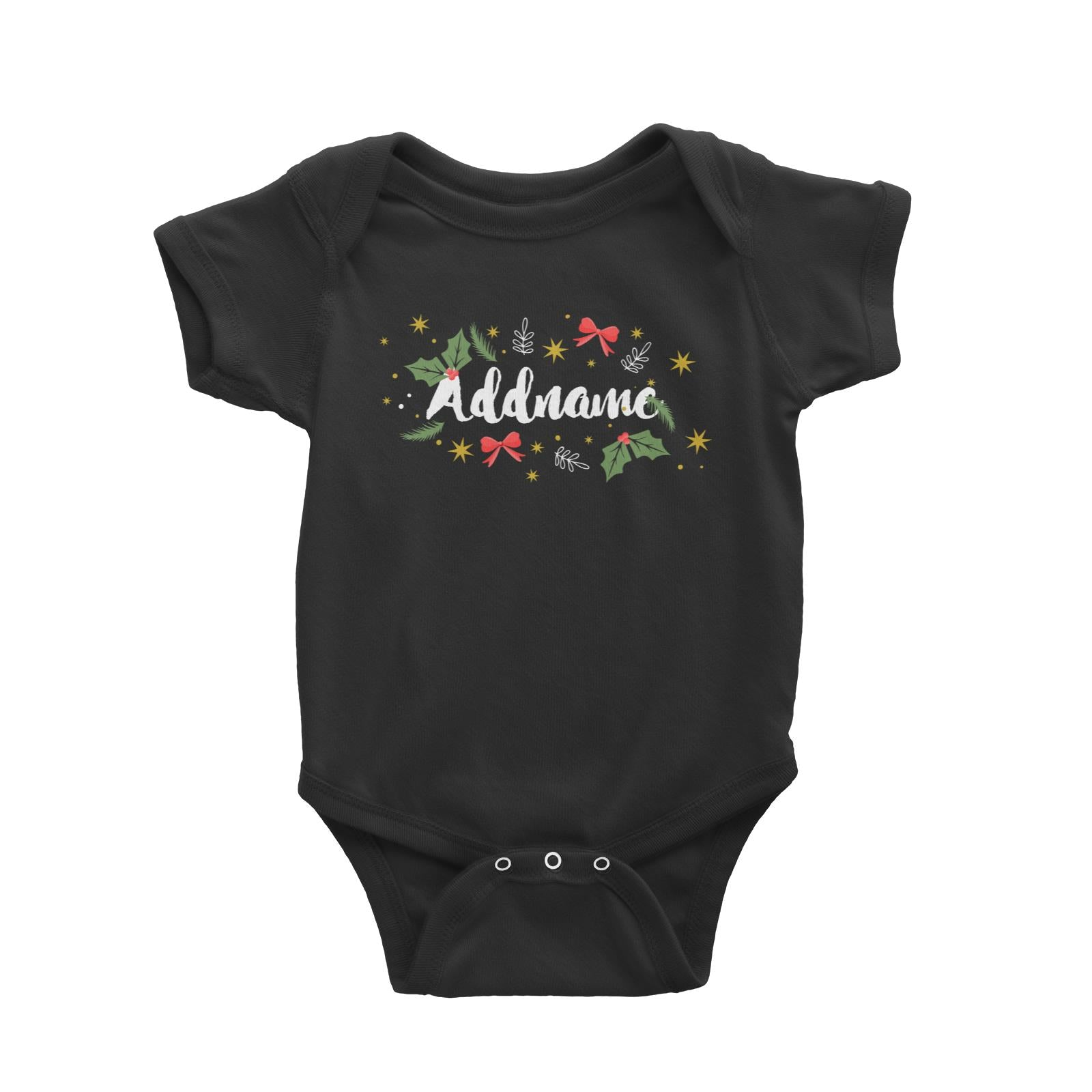 Christmas Elements Addname Baby Romper  Personalizable Designs Lettering Matching Family
