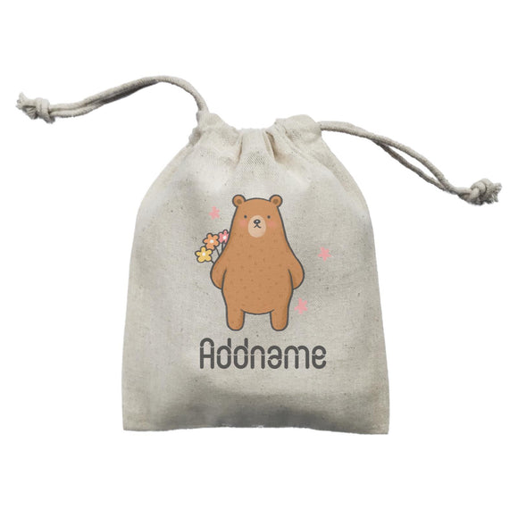 Cute Hand Drawn Style Bear Addname Mini Accessories Mini Pouch