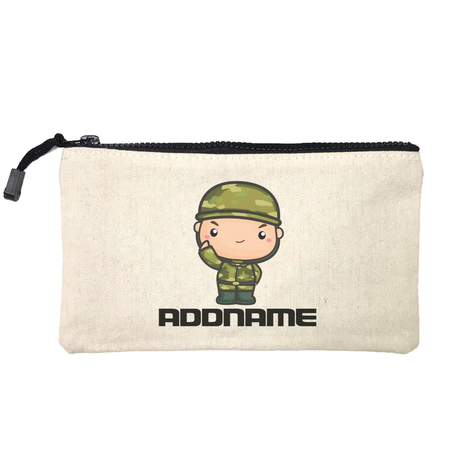 Birthday Battle Theme Army Soldier Boy Addname Mini Accessories Stationery Pouch