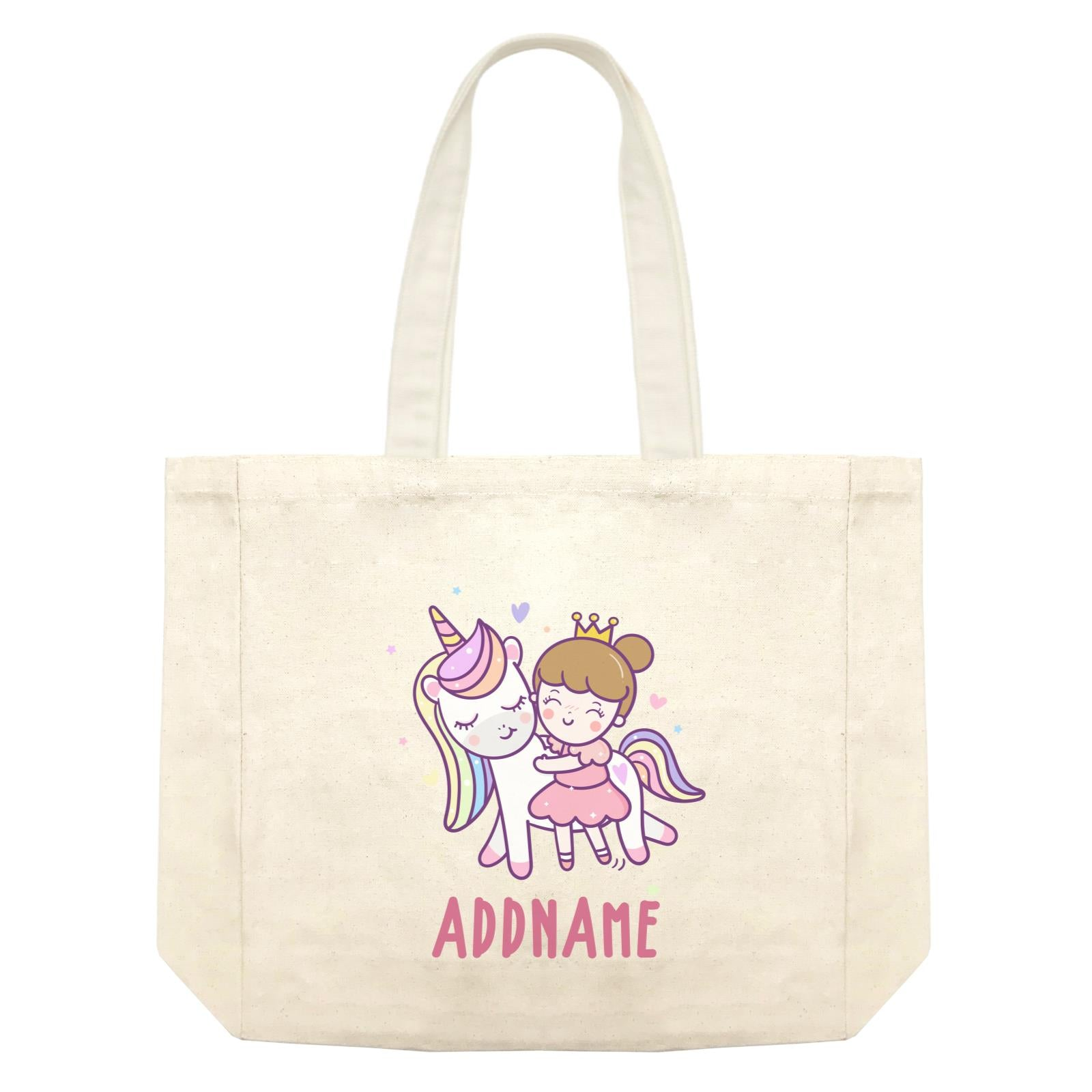 Unicorn And Princess Series Cute Unicorn With Princess Addname Shopping Bag