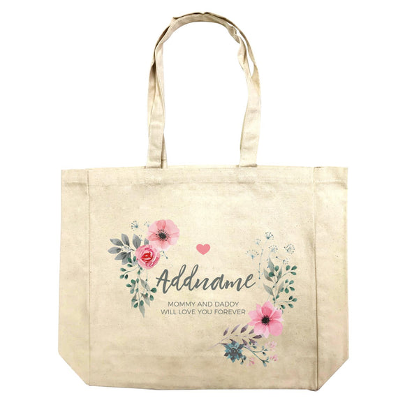 Watercolour Pink Flowers and Dark Wreath Personalizable with Name and Text Shopping Bag