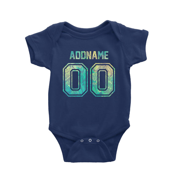 Custom Jersey Banana Leaves Pattern With Name and Number Baby Romper