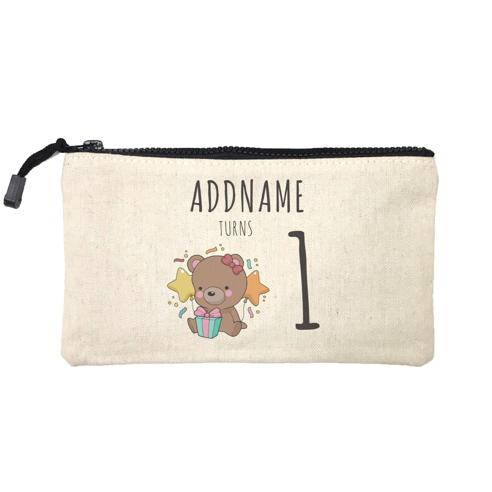 Birthday Sketch Animals Bear with Present Addname Turns 1 Mini Accessories Stationery Pouch