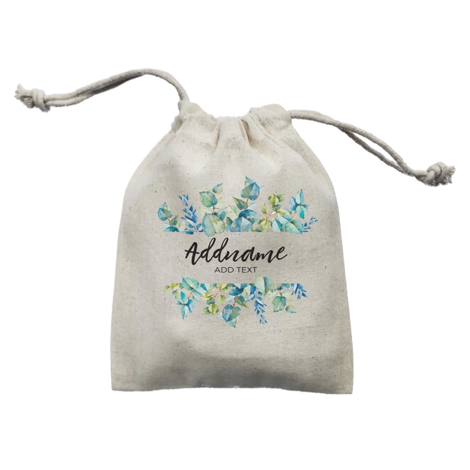 Add Your Own Text Teacher Blue Leaves Box Addname And Add Text Mini Pouch