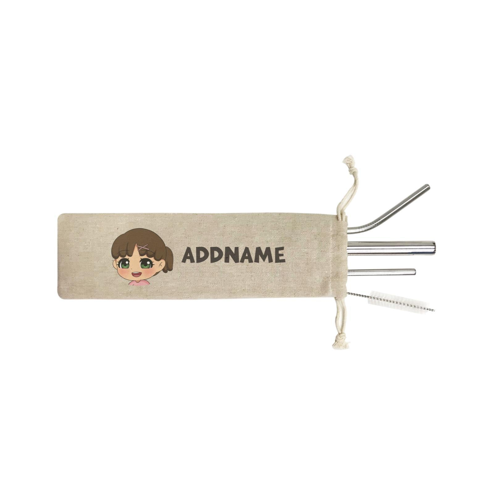 Children's Day Gift Series Little Girl Facing Right Addname SB 4-in-1 Stainless Steel Straw Set In a Satchel