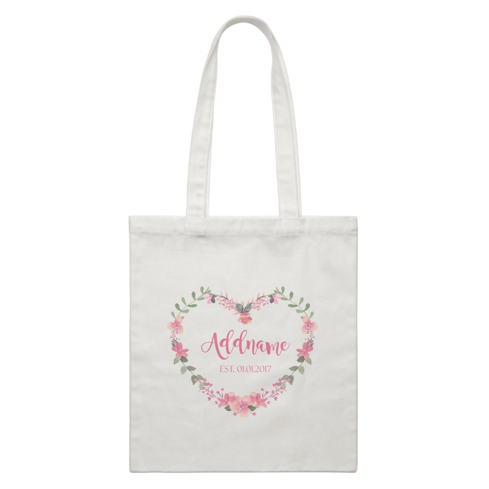 Add Name and Add Date in Pink Heart Shaped Flower Wreath White Canvas Bag
