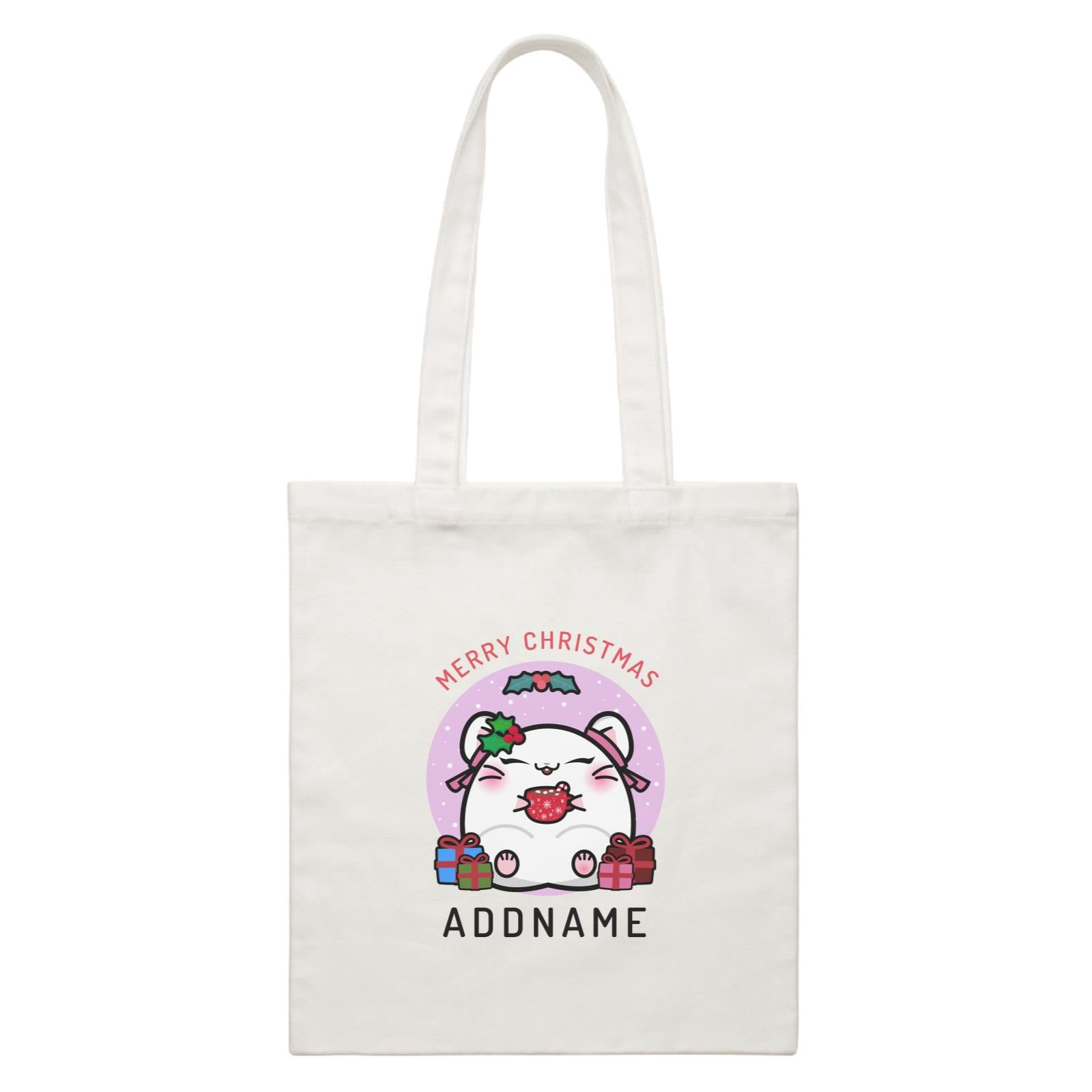 Merry Christmas Cute Santa Mistletoe Girl Hamster with Gifts White Canvas Bag