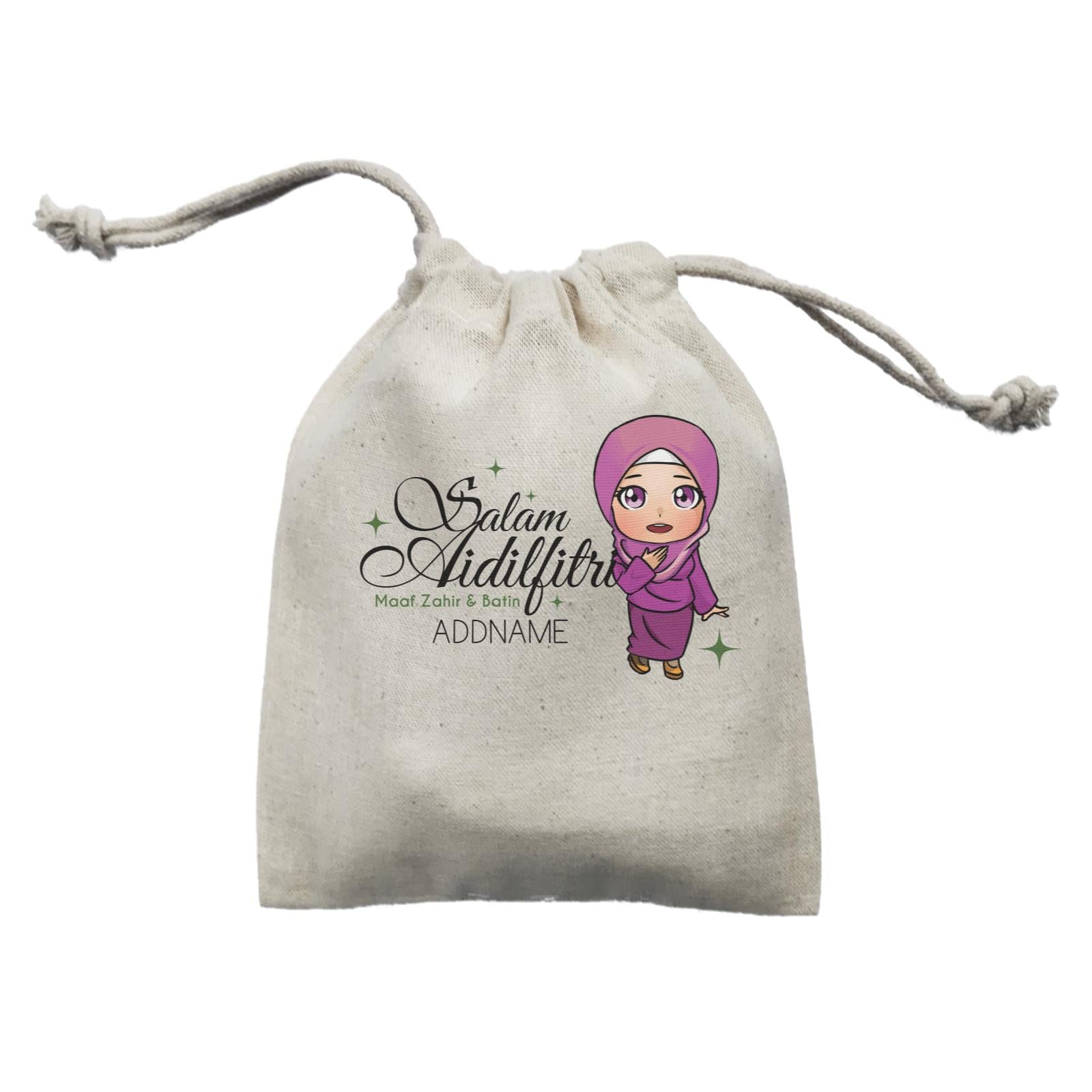 Raya Chibi Wishes Woman Addname Wishes Everyone Salam Aidilfitri Maaf Zahir & Batin Mini Accessories Mini Pouch