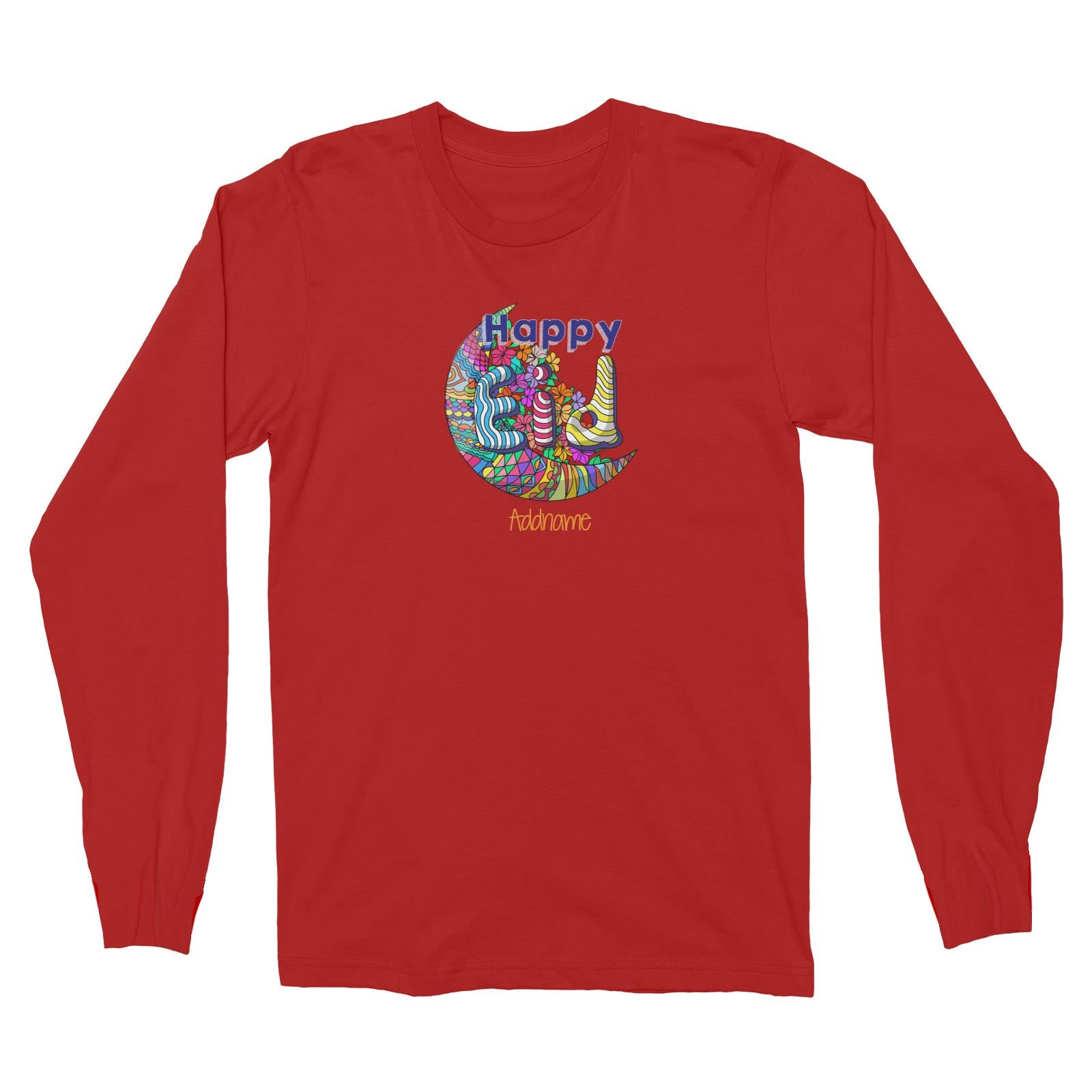 Raya Moon Doodle Moon Happy EID Addname Long Sleeve Unisex T-Shirt