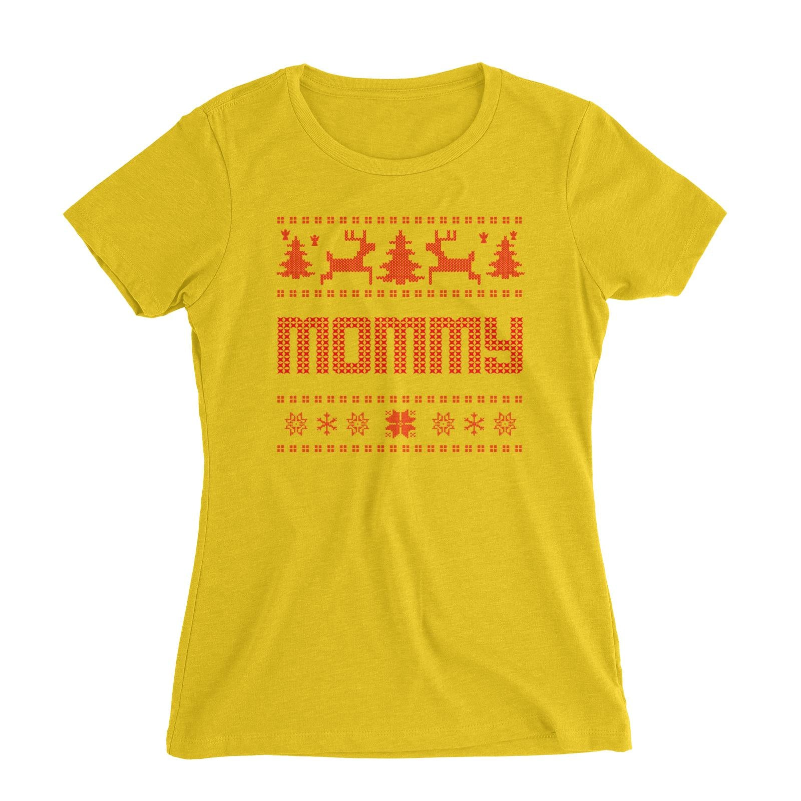 Christmas Sweater Mommy Women's Slim Fit T-Shirt  Matching Family