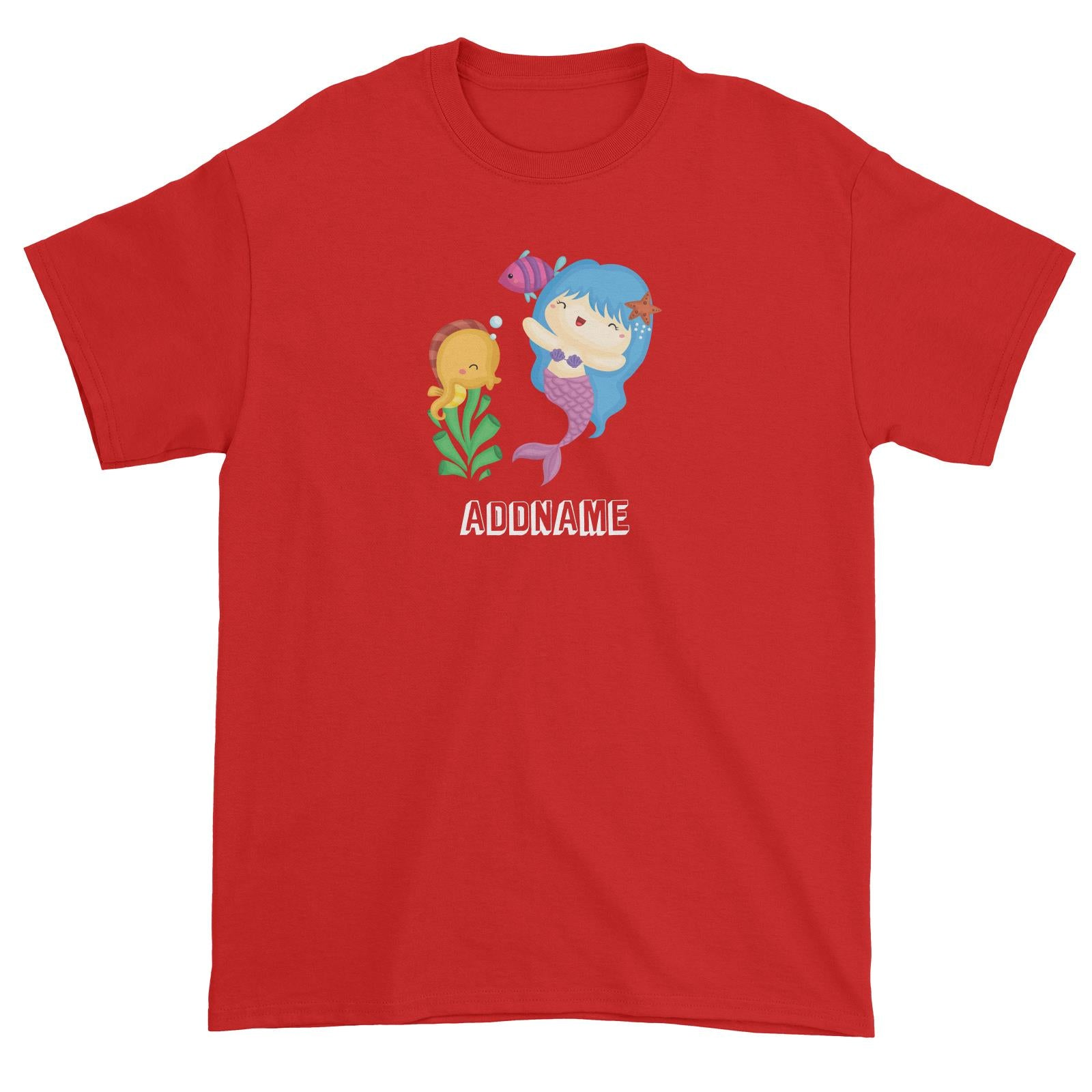 Birthday Mermaid Blue Hair Mermaid Playing With Seahorse Addname Unisex T-Shirt